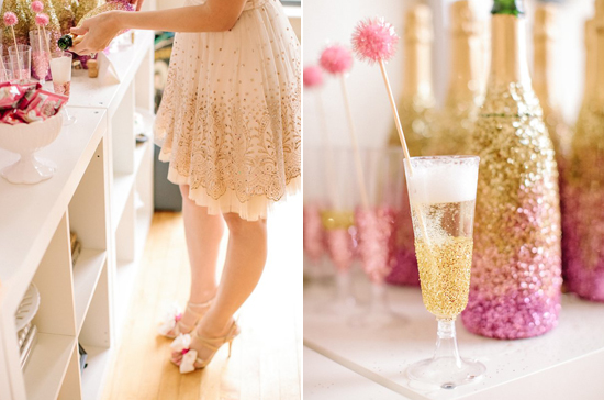 Cocktail party | The Maharani Diaries (http://www.100layercake.com/blog/2013/02/11/pink-gold-glittery-valentines-party-ideas/)