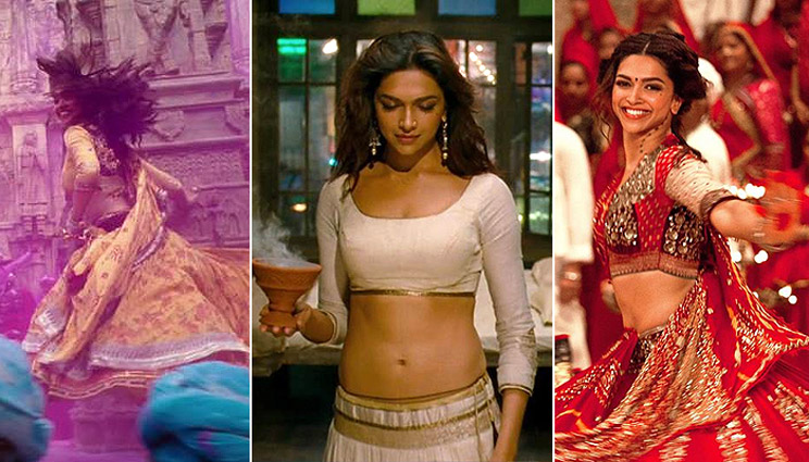 "Deepika Padukone wearing Anju Modi's creations in Bollywood movie, ""Ram-Leela."""