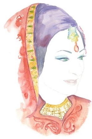 Custom bridal portrait of newly married bride, Shabana